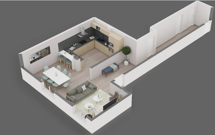 home staging virtual con un plano de un piso