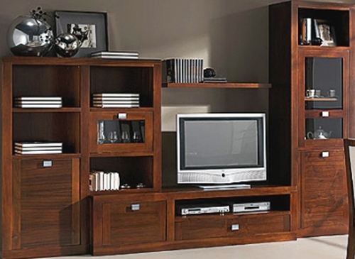Muebles de tv madera maciza nogal for Muebles para tv en madera
