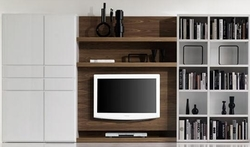Modular TV blanco y marrón