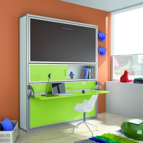 Litera abatible doble con mesa estudio - Litera plegable pared ...
