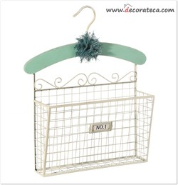 Cesta revistero de metal con percha Mint