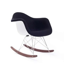 Mecedora Eames Tower Arms Tapizado Blanco y Negro Inspiración RAR Rocking Chair de Charles & Ray Eames