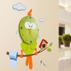 Vinilo decorativo con reloj 3D -ANGRY GREEN BIRD-