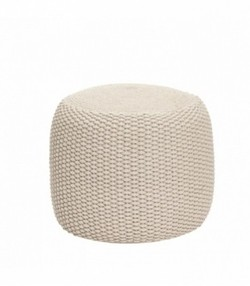 Pouf, round, weaved, sand