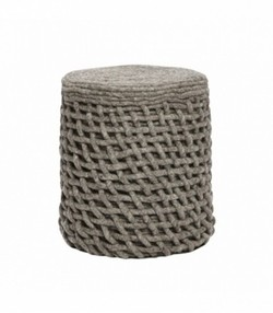 Pouf, round, knitted, wool, dark grey