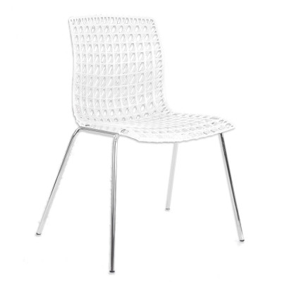 Silla apilable Abril, color negro, blanco