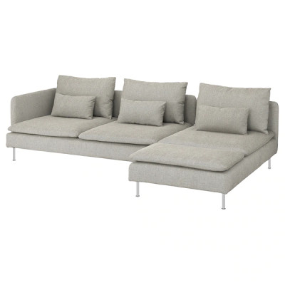 Sofá 4 plazas +chaiselongue final abierto Viarp beige/marrón SÖDERHAMN