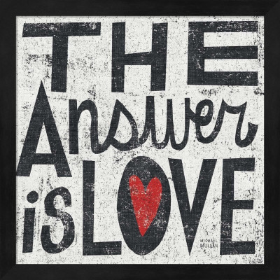 Cuadro The Answer is Love Grunge Square