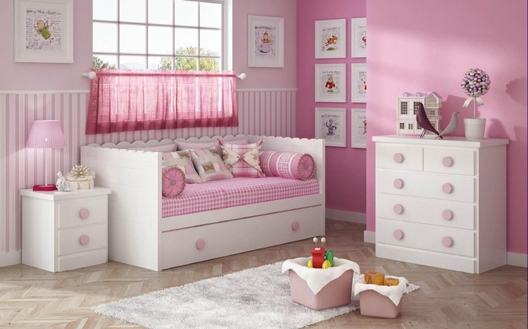 Dormitorio para ni as en blanco y rosa muebles for Muebles de dormitorio infantil