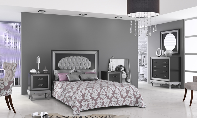 dormitorio coleccion venecia combinado laca negro y plata. Black Bedroom Furniture Sets. Home Design Ideas