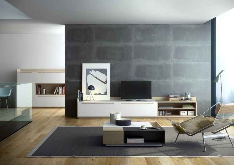 Mueble salon estilo n rdico mobiliario - Salon estilo nordico ...