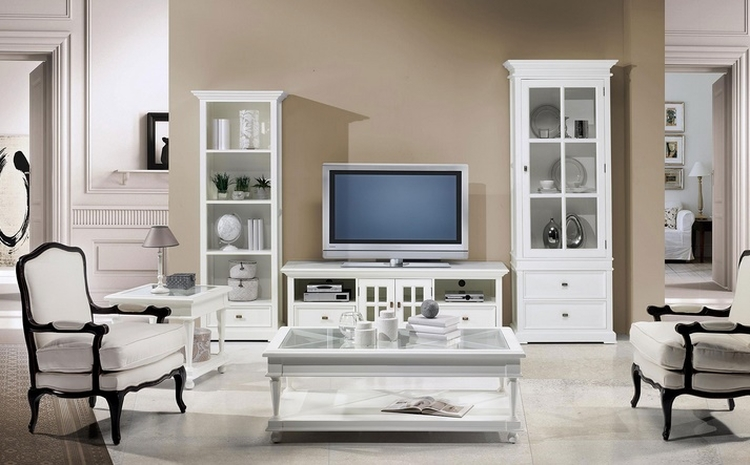 Mueble tv bari 170 blanco roto mueble for Mueble salon blanco y madera